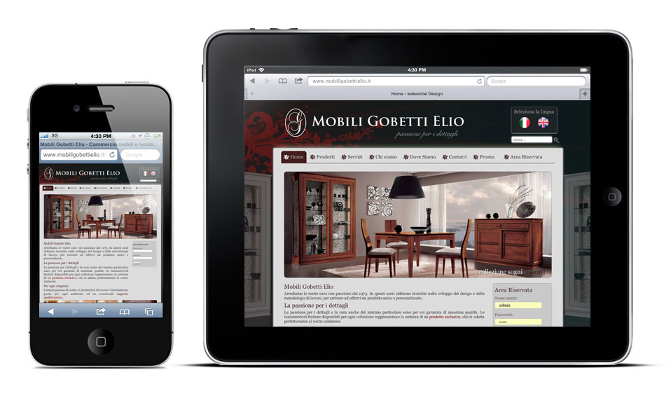 www.mobiligobettielio.it su iPad e su iPhone